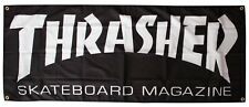"Thrasher Magazine Logo Skateboard Banner Black 58""X 25"""