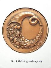 "ilias LALAoUNIS VINTAGE CARD WITH ART ""GREEK MYTHOLOGY & RECYCLING"" COPPER LEAF"