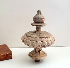 Antique turned wood finial end Tall furniture ball finial Architectural 6.26""