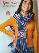CROCHET PATTERN Ladies Flower Granny Square Scarf 221cm long King Cole 4 ply