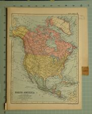 1894 MAP NORTH AMERICA UNITED STATES MEXICO ALASKA WEST INDIES GUATEMALA