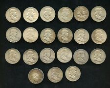 (21) U.S 90% Silver Franklin 50c Halves Lot-1948-1964 mixed grades, some better
