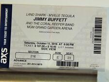 Jimmy Buffet Original Large Concert Used Ticket, Park Theatre Las Vegas, 2016