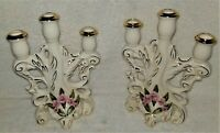Pair of Vintage Coventry USA Porcelain Candelabra Candleholders - Gold Trim