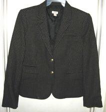 J.Crew Gray Navy Blue Checked Wool Nylon Lined Blazer Jacket Size 14