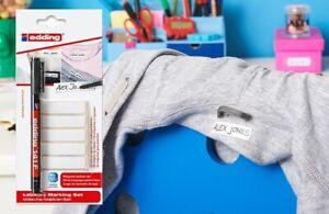Edding Laundry Marker Kit - pen + iron on name labels for clothes school uniform