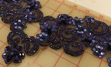 """2 dark blue wide beaded appliques iridescent seed beads sequins 18 x 4"""""""