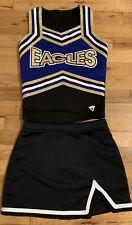 CUTE Eagles Cheer Uniform Black Gold Blue White Top Shell W/ Black Skirt Youth L