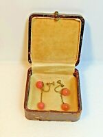 Vintage Pink Bead Gold Plated Dangle 1960s Screw Back Earrings.