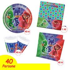 Kit Festa Compleanno Super Pigiamini PJ Mask Piatti Bicchieri Tovaglia Tova 40PX