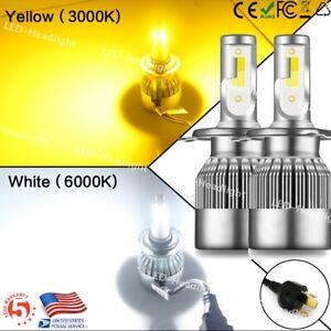 Dual Color Hi/Lo Beam H4 LED Headlight Conversion Kit Car Bulb Lamp 3000K+6000K