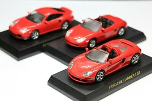 Kyosho 1/64 Porsche Collection Boxster + Carrera GT + 911 Turbo Red 3 Cars