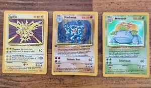 Pokemon TCG cards! Zapdos • 1st Edition Machamp  • Venusaur