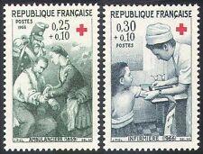 FRANCE 1966 croix rouge/santé/bien-être/santé/soldats/Infirmières 2 V Set (n20398)