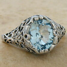 2 CT GENUINE BLUE TOPAZ ANTIQUE DESIGN 925 STERLING SILVER RING SIZE 6,  #695