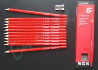 HB Pencils, Pack of 12 Pencils & FREE Metal Sharpener