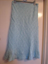 Long / Calf Length Mint Green & White Knit M&S Per Una Skirt in Size 12 L - NWT