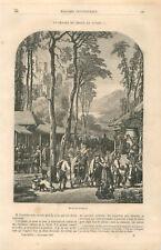 Départ de chasseurs pour la chasse en Styrie / Steiermark Autriche GRAVURE 1859