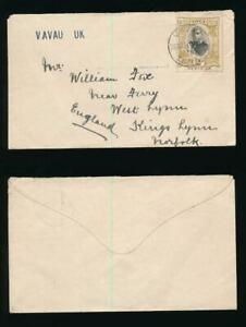 TONGA VAVAU UK HANDSTAMP 2d SINGLE FRANKING ENVELOPE to NORFOLK