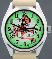 Vintage wind-up Pink Panther Character Watch w/ Green Dial