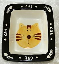 Jc Penny Home Collection Black & White Ceramic Decorative Cat Bowl Dish