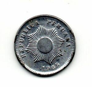 Perú 1965, vintage coin, The Inca's radiant sun into eight points, UN centavo