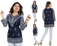 Top Indian Pakistani Designer Top 3/4 Sleeves Printed Kurti Women MI518 BLUE