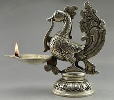 Collectible Decorated Old Handwork Tibet Silver Carved Phoenix Big Candle Stick