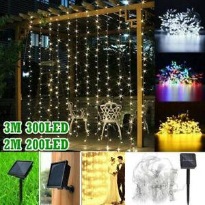 300 LED/200LED Solar Power Curtain Lights Fairy String Outdoor Xmas Party Garden