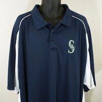 Seattle Mariners Mens Polo Shirt Majestic MLB Baseball Big & Tall Blue Size 7XL