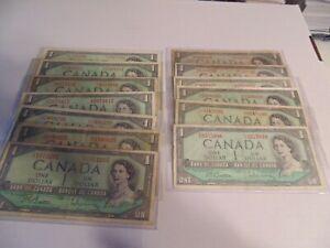 (13) CIRCULATED 1954 $1 BILLS ///