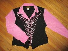 BOB MACKIE BLACK PINK SHIRT Wearable Art Embroidered Western Flamenco Blouse LG