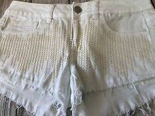 American Eagle Jean Shorts Size 2 Womens Beaded Stretch Denim Frayed Hem White