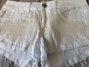 American Eagle Jean Shorts Size 2 Womens Beaded Stretch Denim Frayed Hem White