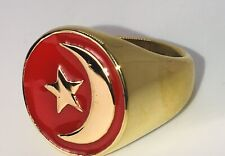 Nation Of islam Crescent Muslim Ring #13 GOLD COLOR