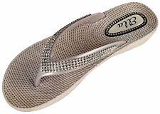 ELLA S1 Diamante Ladies Flip Flops Toe-post Sandals in Black White Sliver