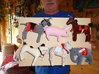 Steiff donkey horse elephant dog cat pig set of 6  stuffed animals Germany 2230