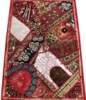 """33% OFF 35"""" HUGE HEAVILY BEADED SEQUIN DECOR VINTAGE WALL SARI TAPESTRY HANGING"""