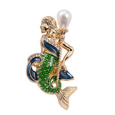 Broche Mermaid Sirène Email Vert Mini Perle Retro Doré XZ 4