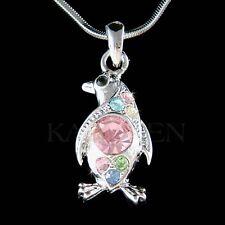 w Swarovski Crystal ~Rainbow Antarctica Galápagos Penguin Charm Necklace Jewelry