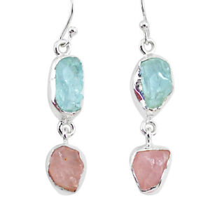 Jewelry Love Sale 12.58cts Aquamarine Raw Rose Quartz Rough Earrings R93727