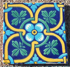 """10~MEXICAN TALAVERA POTTERY 4"""" tile Classic traditional SAN ANGEL TURQUOISE GOLD"""