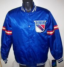 NEW YORK RANGERS NHL STARTER Satin Jacket Traditional SMALL, MEDIUM, XL 2X Blue