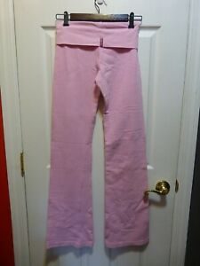 HARD TAIL Forever VINTAGE French Terry THICK Roll down Yoga Pant, Pink,, RARE