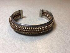 Vintage Navajo Sterling & 12K GF Double Cable Cuff Bracelet Signed Tahe