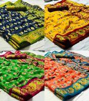 Silk Saree Indian Designer Sari Pakistani Wear Cotton Party Wedding Blouse New