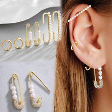 Women Ear Cuff Wrap Stud Clip Rhinestone Pearl Crystal Clip on Earring Jewelry