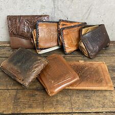 Vintage Hand Tooled Leather Hunting And Fishing  Scene Wallet Billfold LOT B1