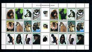 [SUV1744] Suriname Surinam 2010 Wildlife Monkeys Primates Miniature sheet MNH