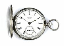 ANTIQUE J HAMMON QUARTER CASE VERGE FUSEE POCKET WATCH STERLING SILVER c.1881